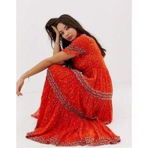 Free People Rare Feelings Orange Pleated Dress